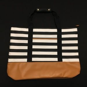 DSW Black/White Striped Tote with Cognac Accents
